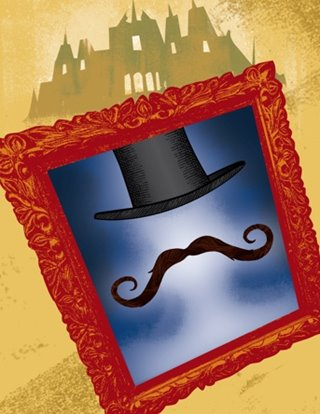 Ruddigore show art: a mustache and top hat appear in a mirror